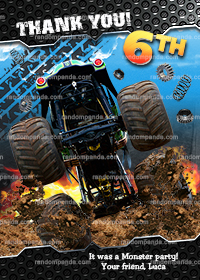 Monster Truck Thank You Card, Monster Trucks Birthday Thanks Note