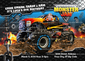 Personalize Monster Truck invitation, Monster Jam Birthday Party Invite