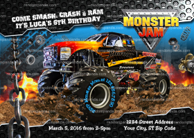 Monster Truck invitation, Monster Jam Birthday Party Invite