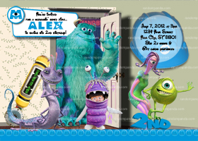 Monsters Inc Invitation, Boo Costume Party, Boys Monsters Invite