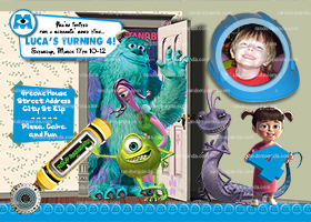 DIY Monsters Inc Invitation, Boys Monsters Inc Party, Monsters Inc Invite