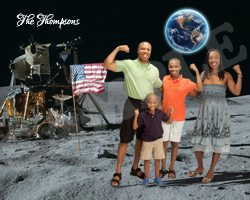 Personalized Funny Fake Family Portrait - On the Moon