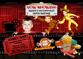 DIY Movie Invite, Curious George Movie Party, Drive-In Movie Invitation