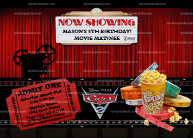 Movie Night Invitation, Movie Theater Invite, Slumber Party