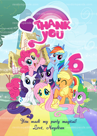 My Little Pony Thank You Card, Little Pony Party, Rainbow Dash Thanks Note
