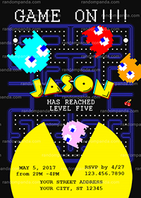 Pacman Invitation, Arcade Party, Pac-Man Birthday Invite