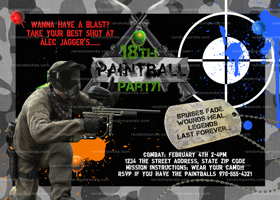 Paintball Invitation, Combat Birthday Invite, Paintball Party