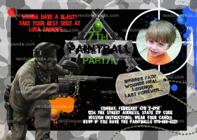 Paintball Invitation, Guns Combat and Camo, Paintball Party invite