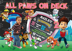 Personalize Pink Paw Patrol Invitation, Puppy Party, Ryder Birthday Invite