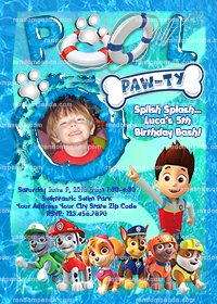 Personalize Paw Patrol Invitation, Chase Pool Party, Ryder Birthday Invite