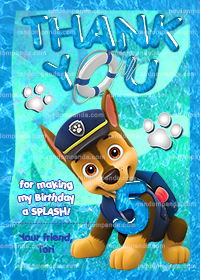 Paw Patrol Thank You Card, Chase Pool Party, Ryder Birthday Thanks Note
