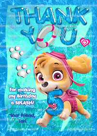 Paw Patrol Thank You Card, Paw Patrol Pool Party, Skye Thanks Note