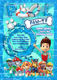 Paw Patrol Invitation, Chase Pool Party, Ryder Birthday Party Invite