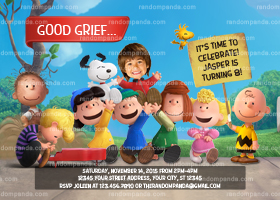Peanuts Movie Invitation, Charlie Brown Party, Snoopy Birthday Invite