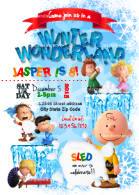 Winter Wonderland invitation, Peanuts Party, Peanuts Snowball Fight Invite