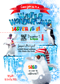 Winter Wonderland invitation, Penguin Party, Snowball Fight Invite