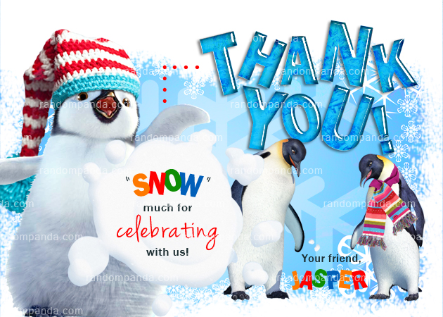 Winter Wonderland Thank You Card, Penguin Party, Penguin Thanks Note