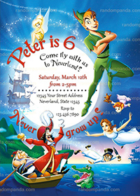 Peter Pan Invitation, Captain Hook Party, Peter Pan Invite