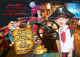 Pirate Ship Invitation, ADD Pirate Hat, Pirate Party, Captain Hook Invite