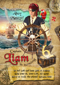 Personalize Pirate Invitation, Pirate Party, Pirate Ship Birthday Invite