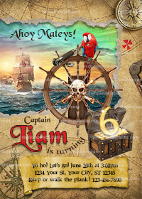 Pirate Birthday Invitation, Pirate Party, Pirate Ship Invite