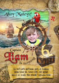 Personalize Pirate Birthday Invitation, Pirate Party, Pirate Ship Invite