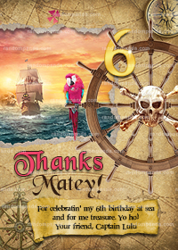 Pirate Thank You Card, Pink Pirate Party, Pirate Ship Birthday Thanks Note