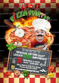 Personalize Pizza Invitation, ADD Hat Mustache, Pizza Party Invite, Slumber Party