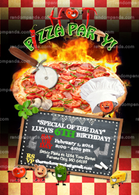 Pizza Invitation, Pizza Party, Slumber Party Invite
