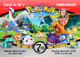 Personalize Pokemon Invitation, Charizard Party, Pikachu Boy Invite