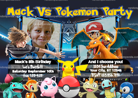 Personalize Pokemon Invitation, Charizard Battle Party, Pikachu Invite