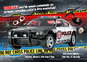 Police Officer Invitation, Policeman Birthday Invite, Police Car Party