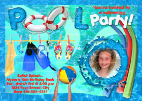 Swimming Pool Party Invitation, Beach Party, Splash Party Invite