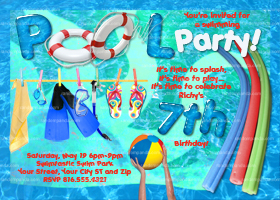 Swimming Pool Party Invitation, Splash Party Invite, Beach Party