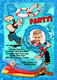 Personalize Popeye Birthday Invitation, Popeye Olive Oyl Pool Party Invite
