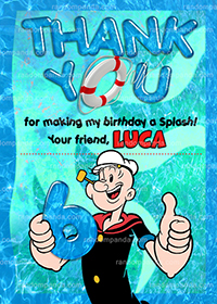 Popeye Thank You Card, Popeye Olive Oyl Birthday Party Thanks Note