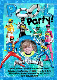 Personalize Power Rangers Birthday Invitation, Power Rangers Pool Party Invite