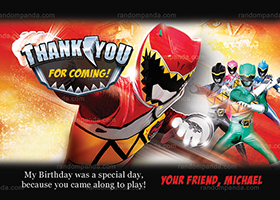 Power Rangers Thank You Card, Power Ranger Birthday Party Thanks Note