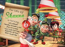 Elf Invitation, Prep and Landing Party, Elves Xmas Birthday Invite