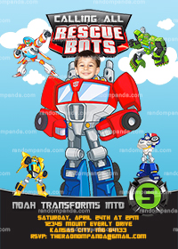 Personalize Rescue Bots Invitation, BE Optimus Prime Invite, Transformers Party
