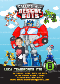 Rescue Bots Invitation, Transformers Party, Rescue Bots Invite