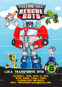 Rescue Bots Invitation, Rescue Bots Invite, Transformers Party