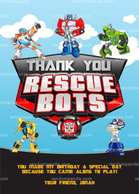 Rescue Bots Thank You Card, Optimus Prime Party, Transformers Thanks Note