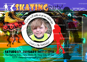 Roller Skate Invitation, Skating Party, Boys Skating Rink Invite