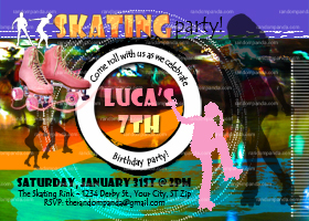 Roller Skate Invitation, Girls Skating Party, Skating Rink Invite