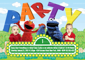 Sesame Street Twins Invitation, Sesame Street Party, Elmo Party invite