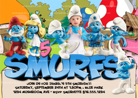 Smurfs Party Invitation, ADD Smurf Hat, Smurfette Birthday Invite