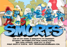 Smurfs Invitation, Smurf Invite, Smurfette Party, Smurfs Birthday
