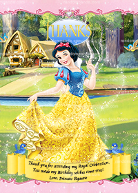 Snow White Thank You Card, Snow White Party, Snow White Birthday Thanks Note