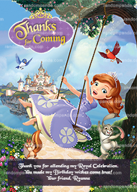 Sofia the First Thank You Card, Princess Sofia Thanks, Sofia Thank You Note